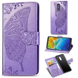 Embossing Mandala Flower Butterfly Leather Wallet Case for LG Stylo 4 - Light Purple