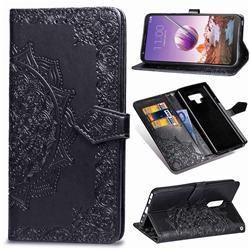 Embossing Imprint Mandala Flower Leather Wallet Case for LG Stylo 4 - Black