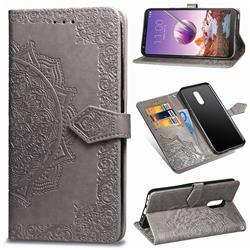 Embossing Imprint Mandala Flower Leather Wallet Case for LG Stylo 4 - Gray