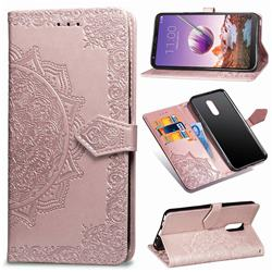 Embossing Imprint Mandala Flower Leather Wallet Case for LG Stylo 4 - Rose Gold