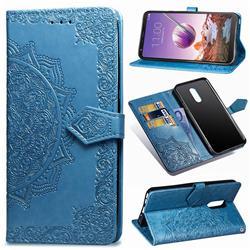 Embossing Imprint Mandala Flower Leather Wallet Case for LG Stylo 4 - Blue