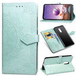 Embossing Imprint Mandala Flower Leather Wallet Case for LG Stylo 4 - Green