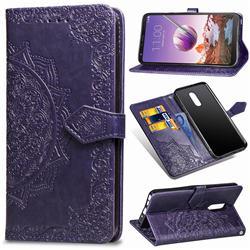Embossing Imprint Mandala Flower Leather Wallet Case for LG Stylo 4 - Purple
