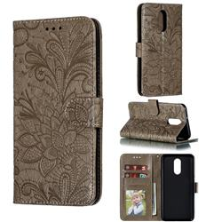 Intricate Embossing Lace Jasmine Flower Leather Wallet Case for LG Stylo 4 - Gray