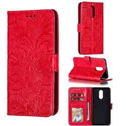 Intricate Embossing Lace Jasmine Flower Leather Wallet Case for LG Stylo 4 - Red