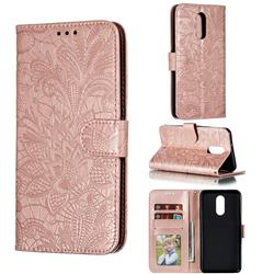 Intricate Embossing Lace Jasmine Flower Leather Wallet Case for LG Stylo 4 - Rose Gold