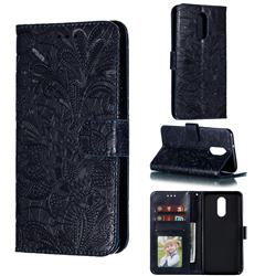 Intricate Embossing Lace Jasmine Flower Leather Wallet Case for LG Stylo 4 - Dark Blue