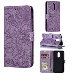 Intricate Embossing Lace Jasmine Flower Leather Wallet Case for LG Stylo 4 - Purple