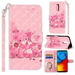 Pink Bear 3D Leather Phone Holster Wallet Case for LG Stylo 4