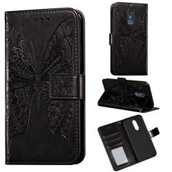Intricate Embossing Vivid Butterfly Leather Wallet Case for LG Stylo 4 - Black
