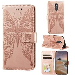 Intricate Embossing Rose Flower Butterfly Leather Wallet Case for LG Stylo 4 - Rose Gold