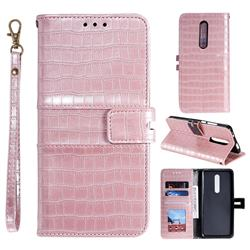 Luxury Crocodile Magnetic Leather Wallet Phone Case for LG Stylo 4 - Rose Gold