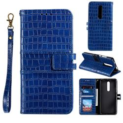 Luxury Crocodile Magnetic Leather Wallet Phone Case for LG Stylo 4 - Blue