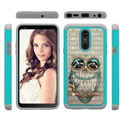 Sweet Gray Owl Studded Rhinestone Bling Diamond Shock Absorbing Hybrid Defender Rugged Phone Case Cover for LG Stylo 5
