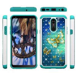 Gold Butterfly Studded Rhinestone Bling Diamond Shock Absorbing Hybrid Defender Rugged Phone Case Cover for LG Stylo 5