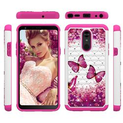 Rose Butterfly Studded Rhinestone Bling Diamond Shock Absorbing Hybrid Defender Rugged Phone Case Cover for LG Stylo 5