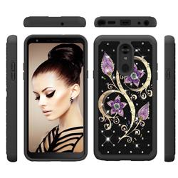 Peacock Flower Studded Rhinestone Bling Diamond Shock Absorbing Hybrid Defender Rugged Phone Case Cover for LG Stylo 5