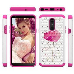 Watercolor Studded Rhinestone Bling Diamond Shock Absorbing Hybrid Defender Rugged Phone Case Cover for LG Stylo 5