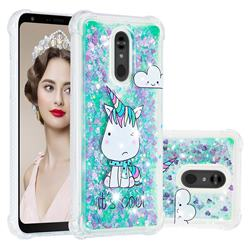 Tiny Unicorn Dynamic Liquid Glitter Sand Quicksand Star TPU Case for LG Stylo 5