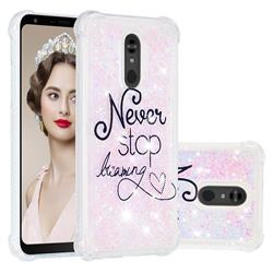 Never Stop Dreaming Dynamic Liquid Glitter Sand Quicksand Star TPU Case for LG Stylo 5