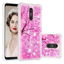 Pink Cherry Blossom Dynamic Liquid Glitter Sand Quicksand Star TPU Case for LG Stylo 5