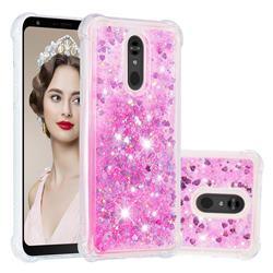Dynamic Liquid Glitter Sand Quicksand TPU Case for LG Stylo 5 - Pink Love Heart