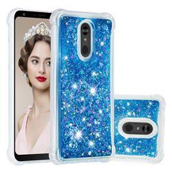 Dynamic Liquid Glitter Sand Quicksand TPU Case for LG Stylo 5 - Blue Love Heart