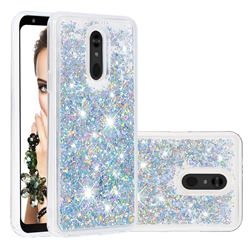 Dynamic Liquid Glitter Quicksand Sequins TPU Phone Case for LG Stylo 5 - Silver