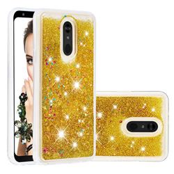 Dynamic Liquid Glitter Quicksand Sequins TPU Phone Case for LG Stylo 5 - Golden