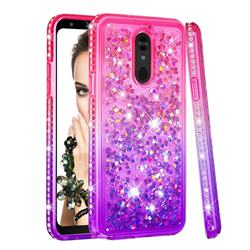 Diamond Frame Liquid Glitter Quicksand Sequins Phone Case for LG Stylo 5 - Pink Purple