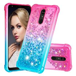 Rainbow Gradient Liquid Glitter Quicksand Sequins Phone Case for LG Stylo 5 - Pink Blue