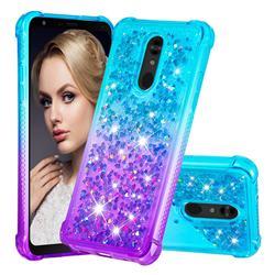 Rainbow Gradient Liquid Glitter Quicksand Sequins Phone Case for LG Stylo 5 - Blue Purple