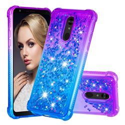Rainbow Gradient Liquid Glitter Quicksand Sequins Phone Case for LG Stylo 5 - Purple Blue
