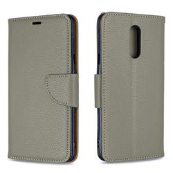 Classic Luxury Litchi Leather Phone Wallet Case for LG Stylo 5 - Gray