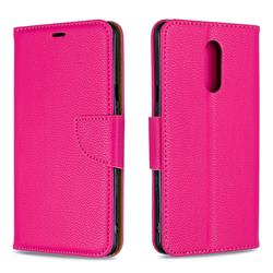 Classic Luxury Litchi Leather Phone Wallet Case for LG Stylo 5 - Rose