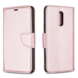 Classic Luxury Litchi Leather Phone Wallet Case for LG Stylo 5 - Golden