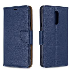 Classic Luxury Litchi Leather Phone Wallet Case for LG Stylo 5 - Blue