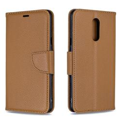 Classic Luxury Litchi Leather Phone Wallet Case for LG Stylo 5 - Brown
