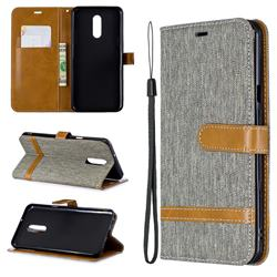 Jeans Cowboy Denim Leather Wallet Case for LG Stylo 5 - Gray