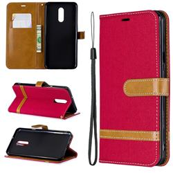 Jeans Cowboy Denim Leather Wallet Case for LG Stylo 5 - Red