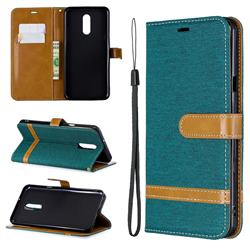 Jeans Cowboy Denim Leather Wallet Case for LG Stylo 5 - Green