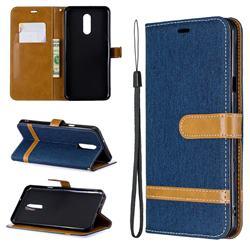 Jeans Cowboy Denim Leather Wallet Case for LG Stylo 5 - Dark Blue