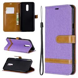 Jeans Cowboy Denim Leather Wallet Case for LG Stylo 5 - Purple