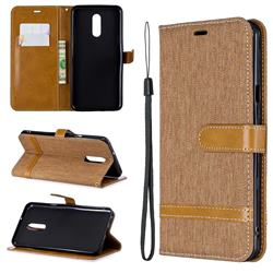 Jeans Cowboy Denim Leather Wallet Case for LG Stylo 5 - Brown