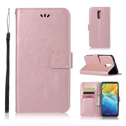 Intricate Embossing Owl Campanula Leather Wallet Case for LG Stylo 5 - Rose Gold