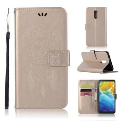 Intricate Embossing Owl Campanula Leather Wallet Case for LG Stylo 5 - Champagne