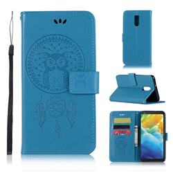 Intricate Embossing Owl Campanula Leather Wallet Case for LG Stylo 5 - Blue