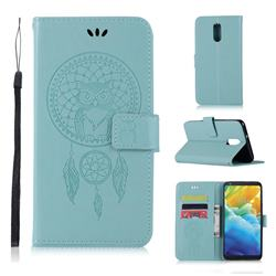 Intricate Embossing Owl Campanula Leather Wallet Case for LG Stylo 5 - Green