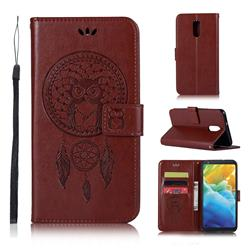 Intricate Embossing Owl Campanula Leather Wallet Case for LG Stylo 5 - Brown