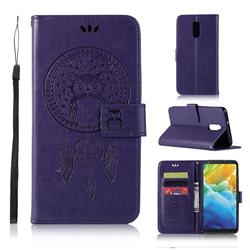 Intricate Embossing Owl Campanula Leather Wallet Case for LG Stylo 5 - Purple